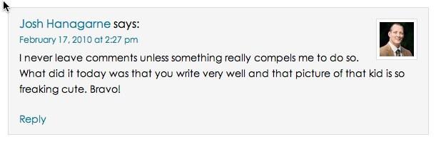 comment from Josh Hanagarne